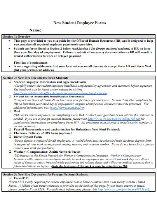 New Student Employee Forms