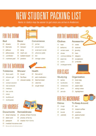 New Student Packing List