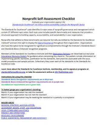 Nonprofit Self Assessment Checklist
