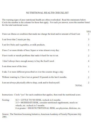 Nutritional Health Checklist