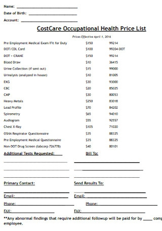 Occupational Health Price List