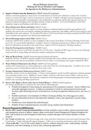Ocean Pollution Action List