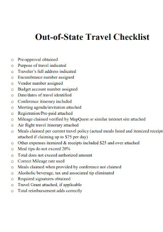 Out of State Travel Checklist
