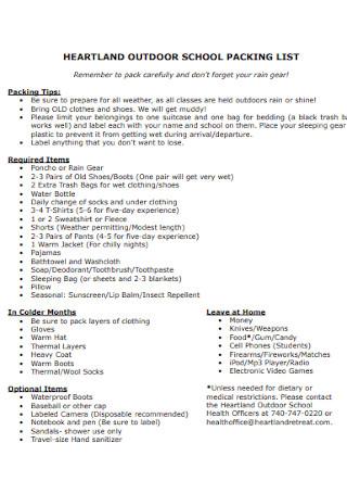 Outdoor School Packing List