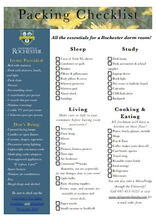 Packing Checklist Example