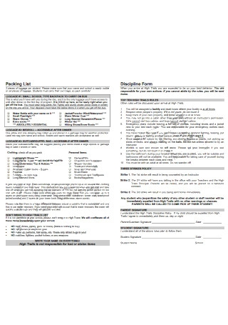Packing List and Discipline Form