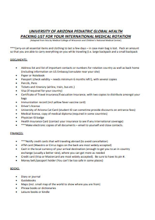 Packing List for Medical Template