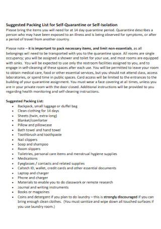 Packing List for Self Quarantine
