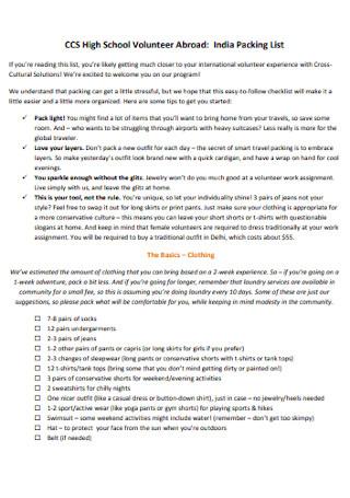 Packing Volunteer List Template