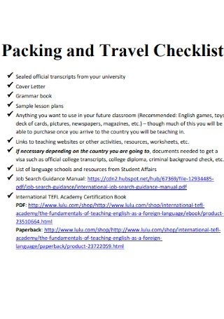 Packing and Travel Checklist