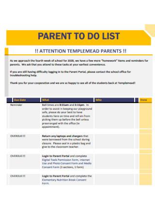 Parent Daily To Do List