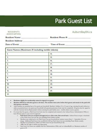 Park Guest List Example