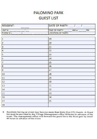 Park Guest List Template