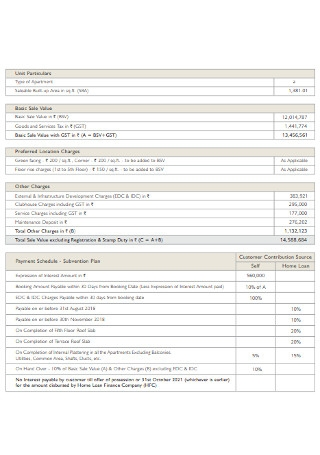 Payment Plan and Price List