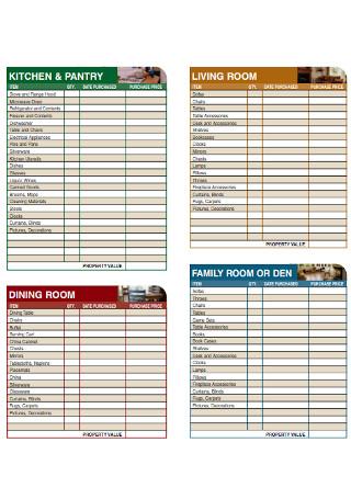 Personal Home Inventory Checklist
