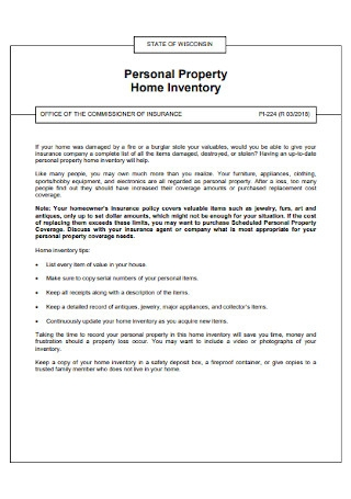 Personal Property Home Inventory List