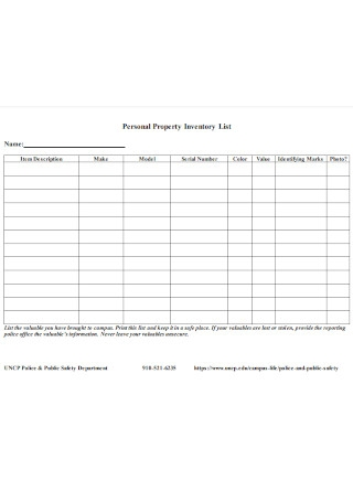 Personal Property Inventory List