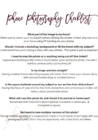 Phone Photography Checklist