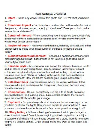 Photo Critique Checklist