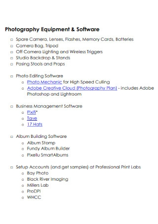 Photography Business Building Checklist