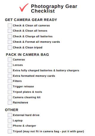 Photography Gear Checklist