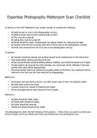 Photography Matterport Scan Checklist