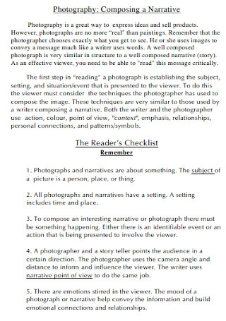 Photography Readers Checklist