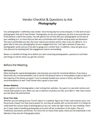 Photography Vendor Checklist