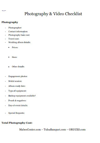 Photography and Video Checklist