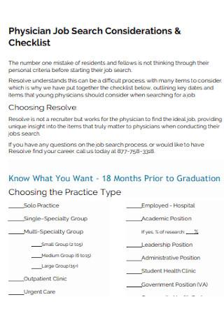 Physician Job Search Checklist
