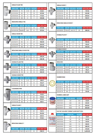 Pipes Price List Template