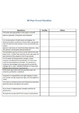 Post Travel Checklist