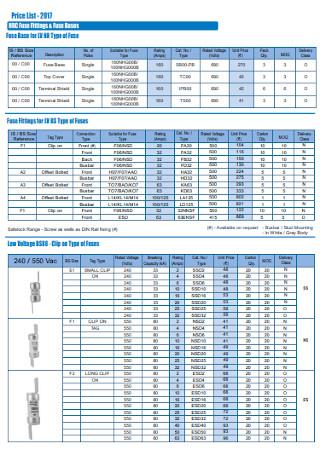 Power Price List Template
