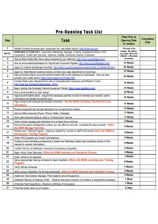 Pre Opening Task List