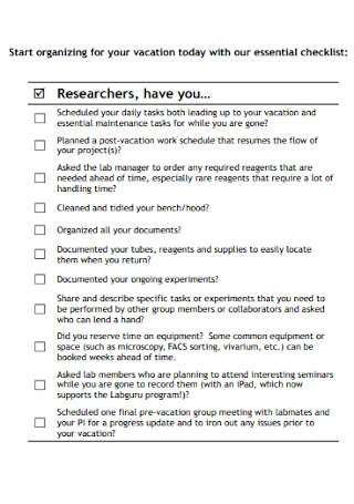 Pre Vacation Laboratory Checklist