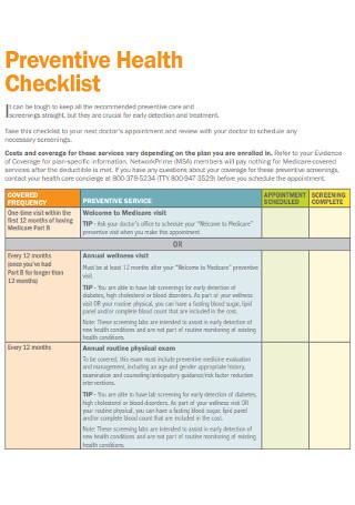 Preventive Health Checklist Template
