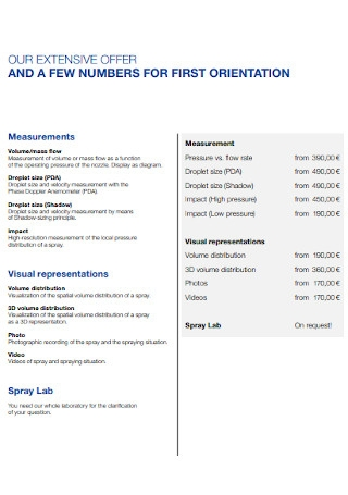 Price List for Measurements