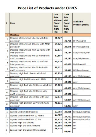 Price List of Products