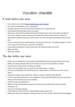 Printable Vacation Checklist Template