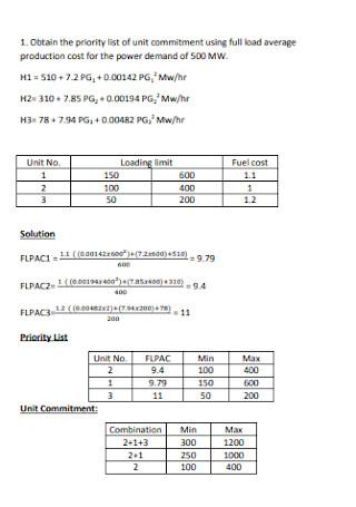 Priority List Format