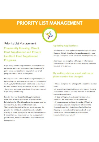 Priority List Management Template