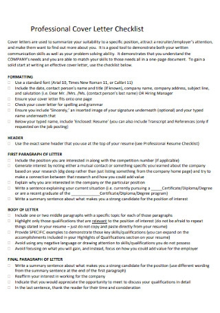 Professional Job Checklist