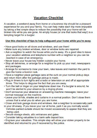 Professional Vacation Checklist Template