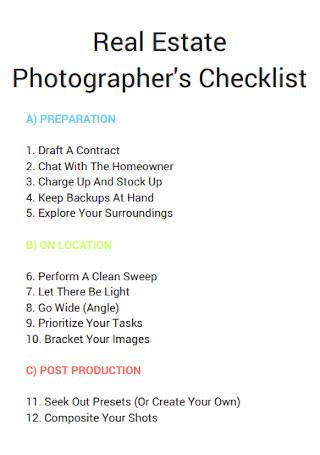Real Estate Photographers Checklist