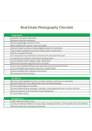 Real Estate Photography Checklist
