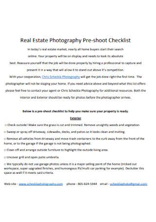 Real Estate Photography Pre shoot Checklist