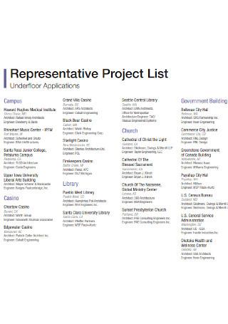 Representative Project List