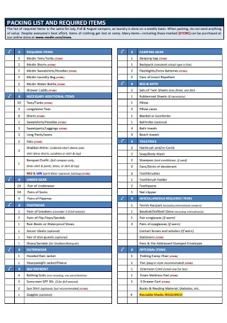 Required Items Packiing List