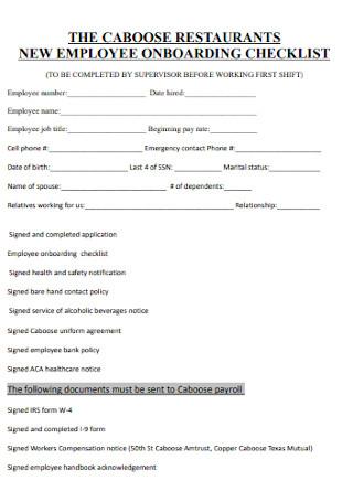Restaurent Employee Onboarding Checklist