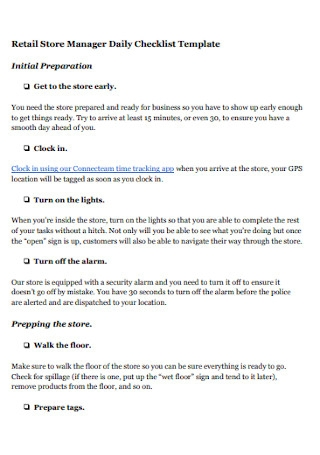 Retail Store Daily Checklist Template